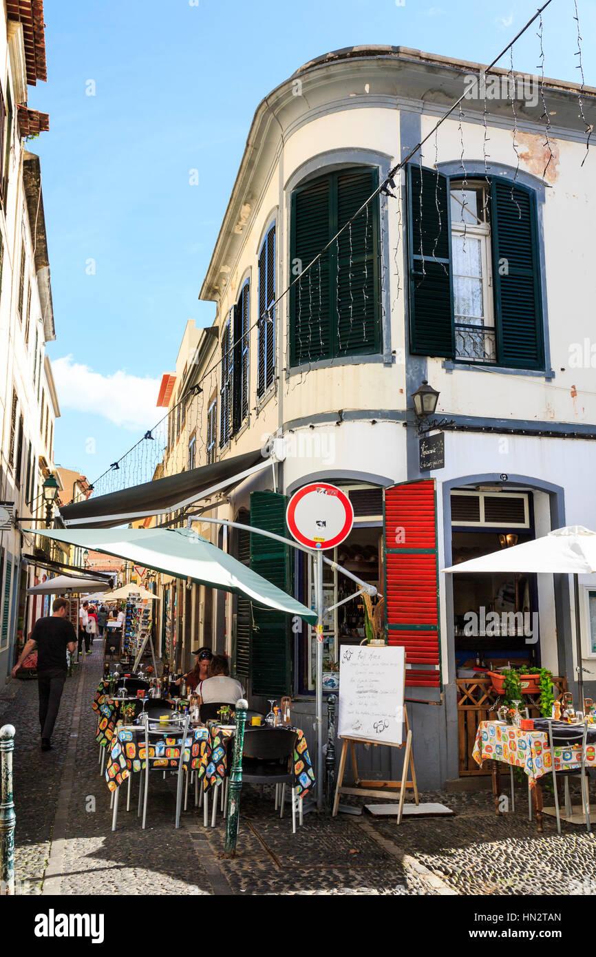 zona velha old town cafe bar, Funchal, Madeira Stock Photo