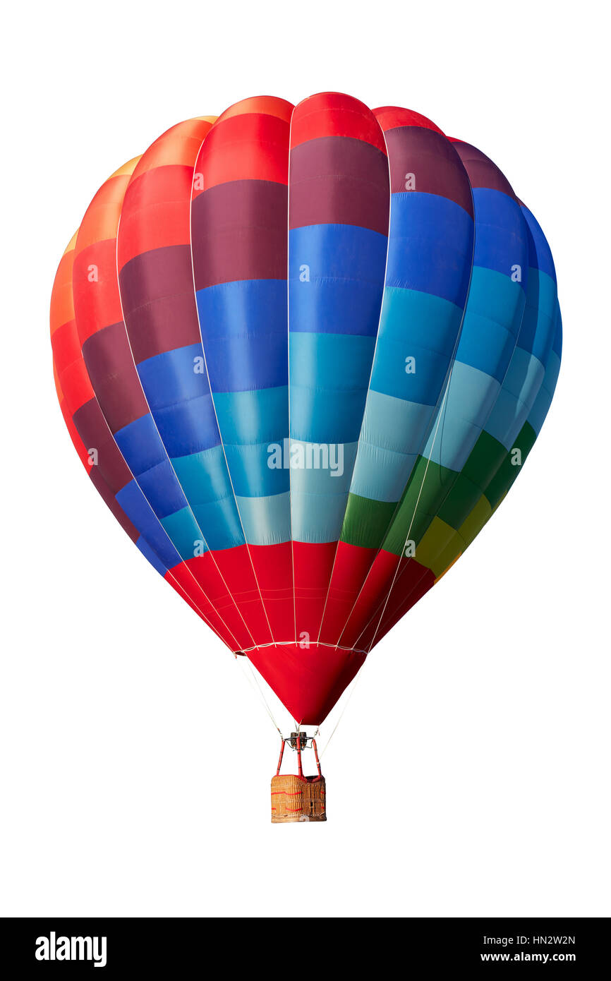 Hot air balloon, colorful aerostat isolated on white, clipping path included - Stock Image