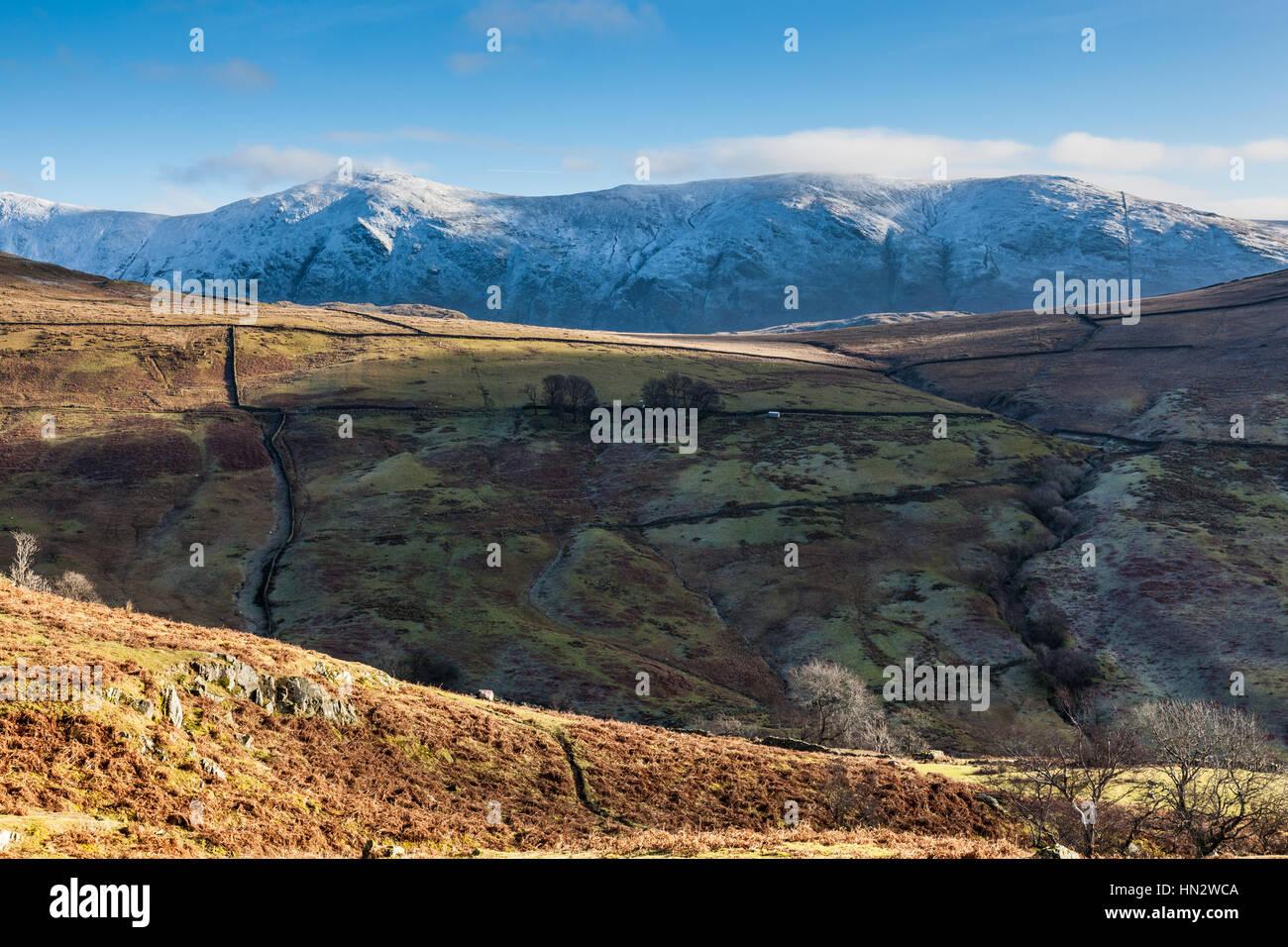 Yoke and Ill Bell seen from the Struggle, near Kirkstone Pass, Ambleside, Lake District, Cumbria - Stock Image