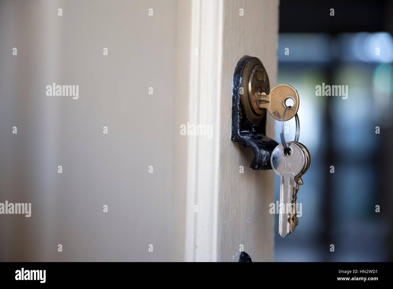 A set of house keys are seen in a lock on the front door to a house ...