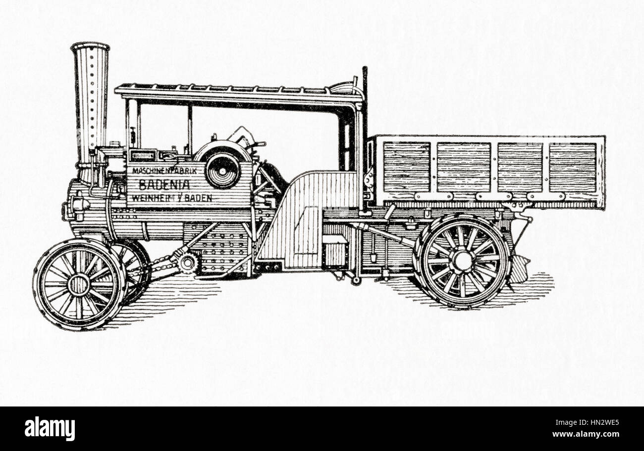 A 19th century steam powered car.   From Meyers Lexicon, published 1927. - Stock Image
