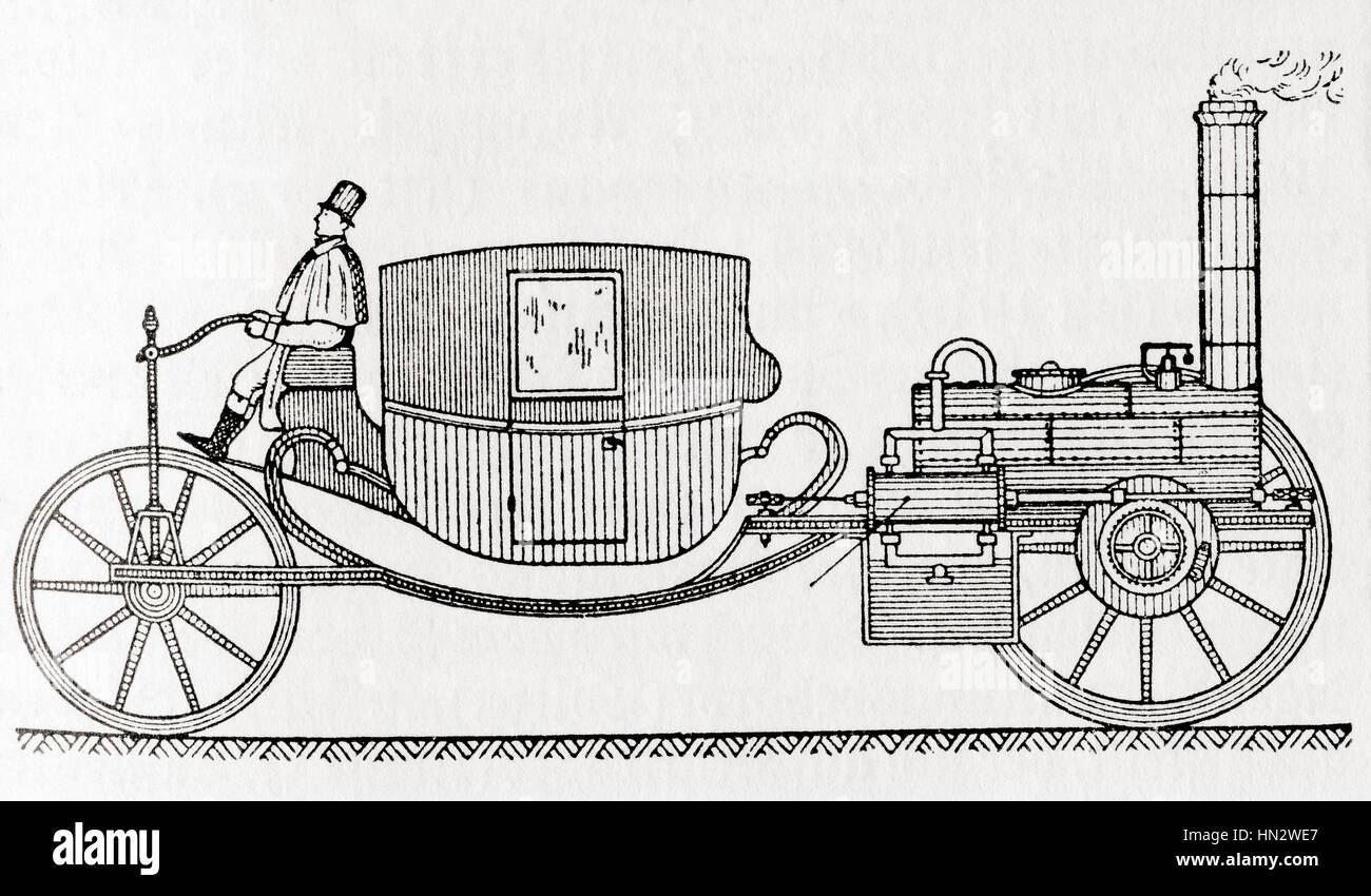 A 19th century carriage powered by a steam engine.  From Meyers Lexicon, published 1927. - Stock Image
