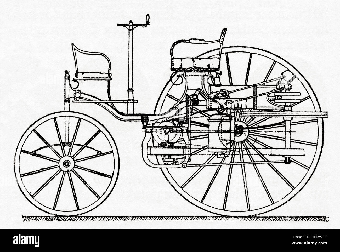 An early Benz Patent Motor Car, the first automobile (1885 – 1886 ...