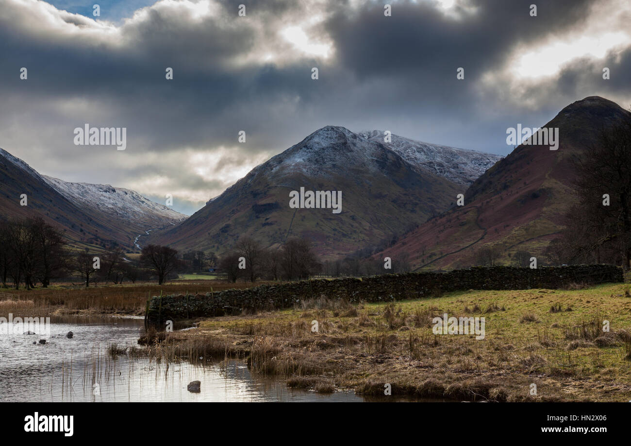 Middle Dodd with snow, near Brothers Water, Lake District, CUmbria - Stock Image