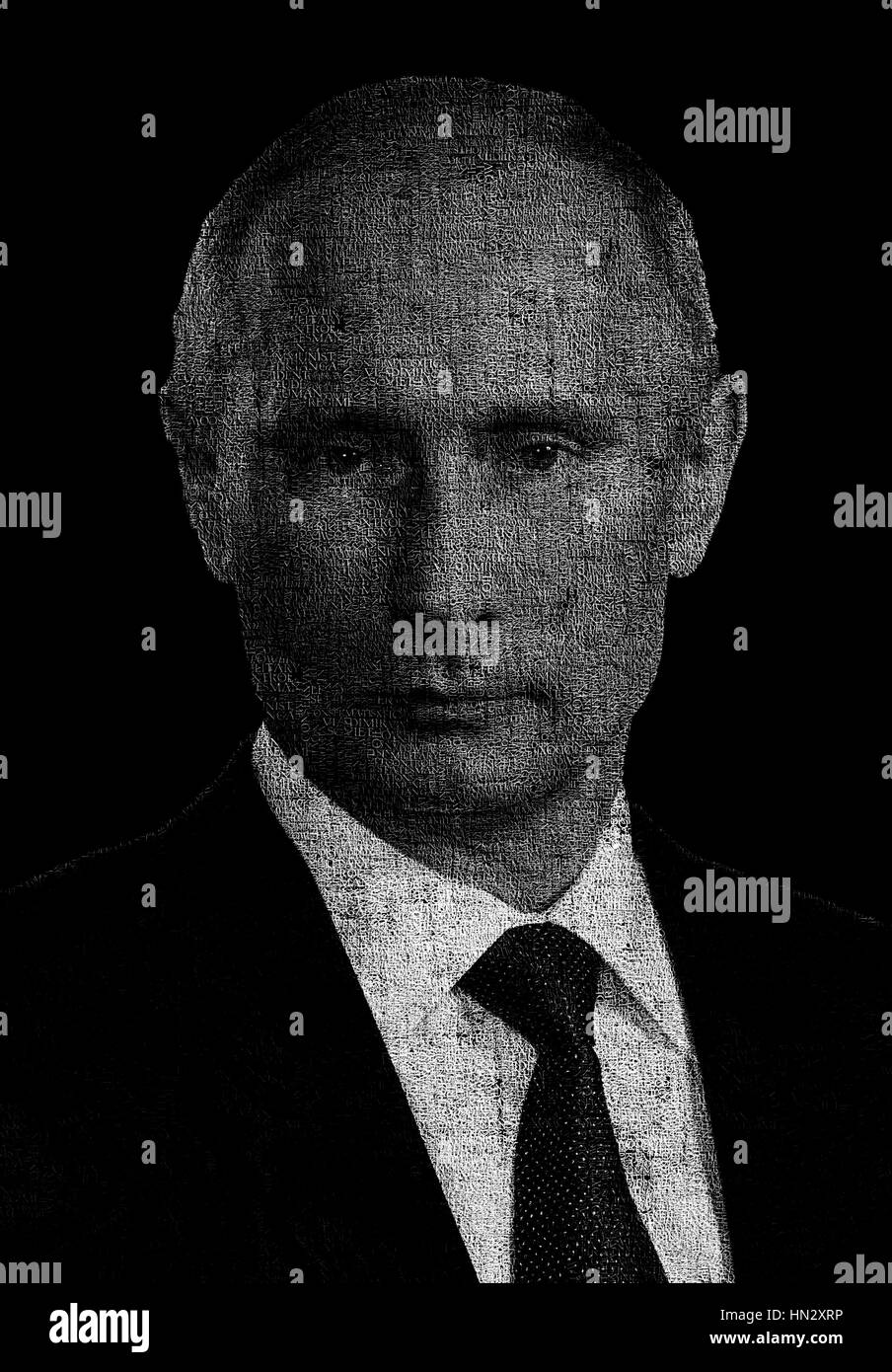 Illustration featuring Russia president Vladimir Putin made with words often used during his speeches. - Stock Image