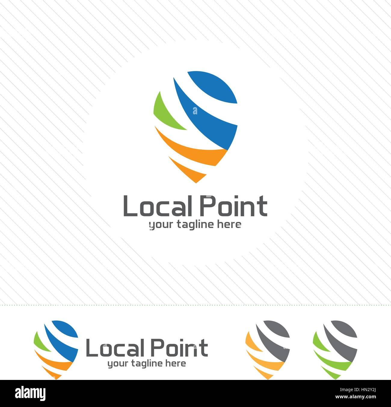 pin locator logo design template pin maps symbol vector clean