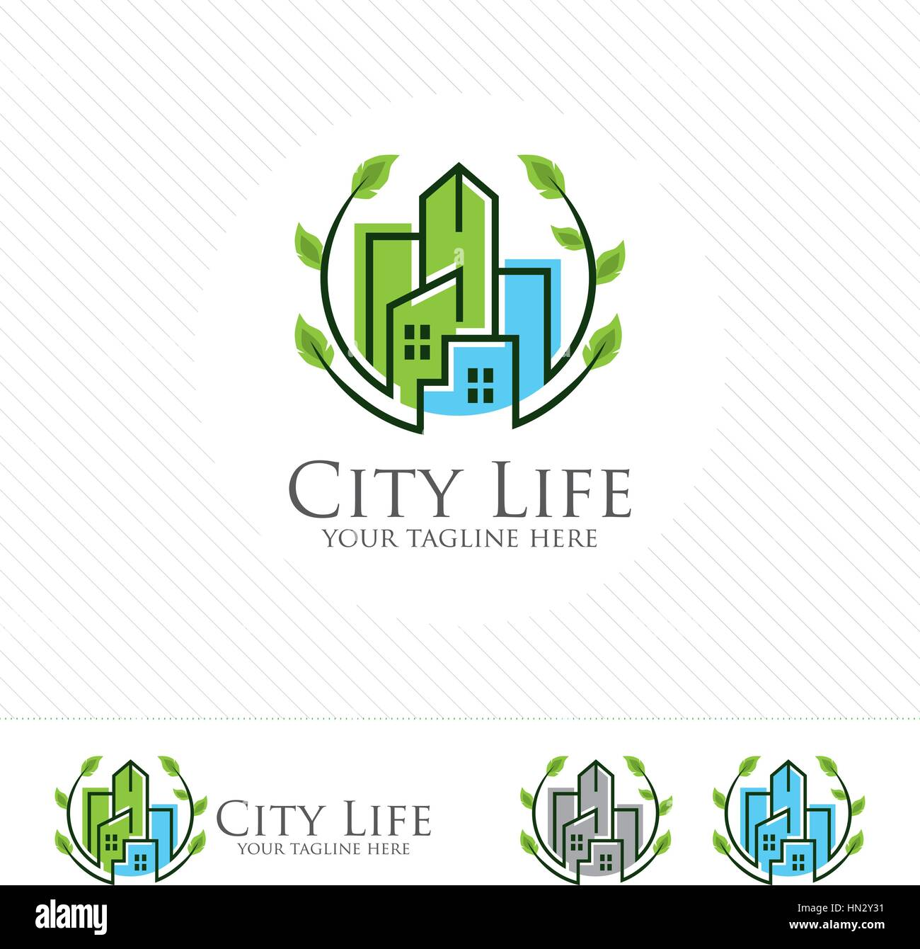 Abstract green city building logo design concept. Symbol icon of residential, apartment and city landscape. - Stock Vector