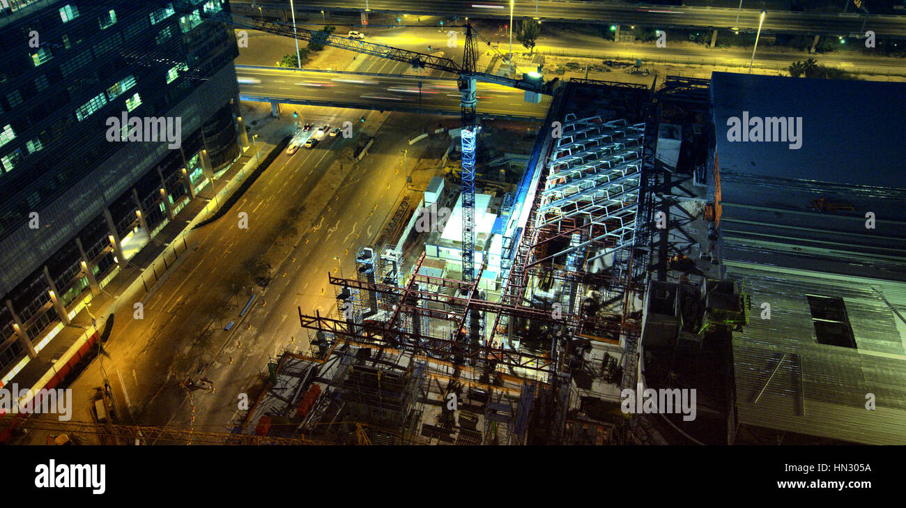 View of commercial dock at night - Stock Image