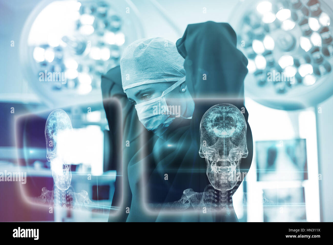 Skull and brain graphic on black against female surgeon wearing surgical mask 3d Stock Photo