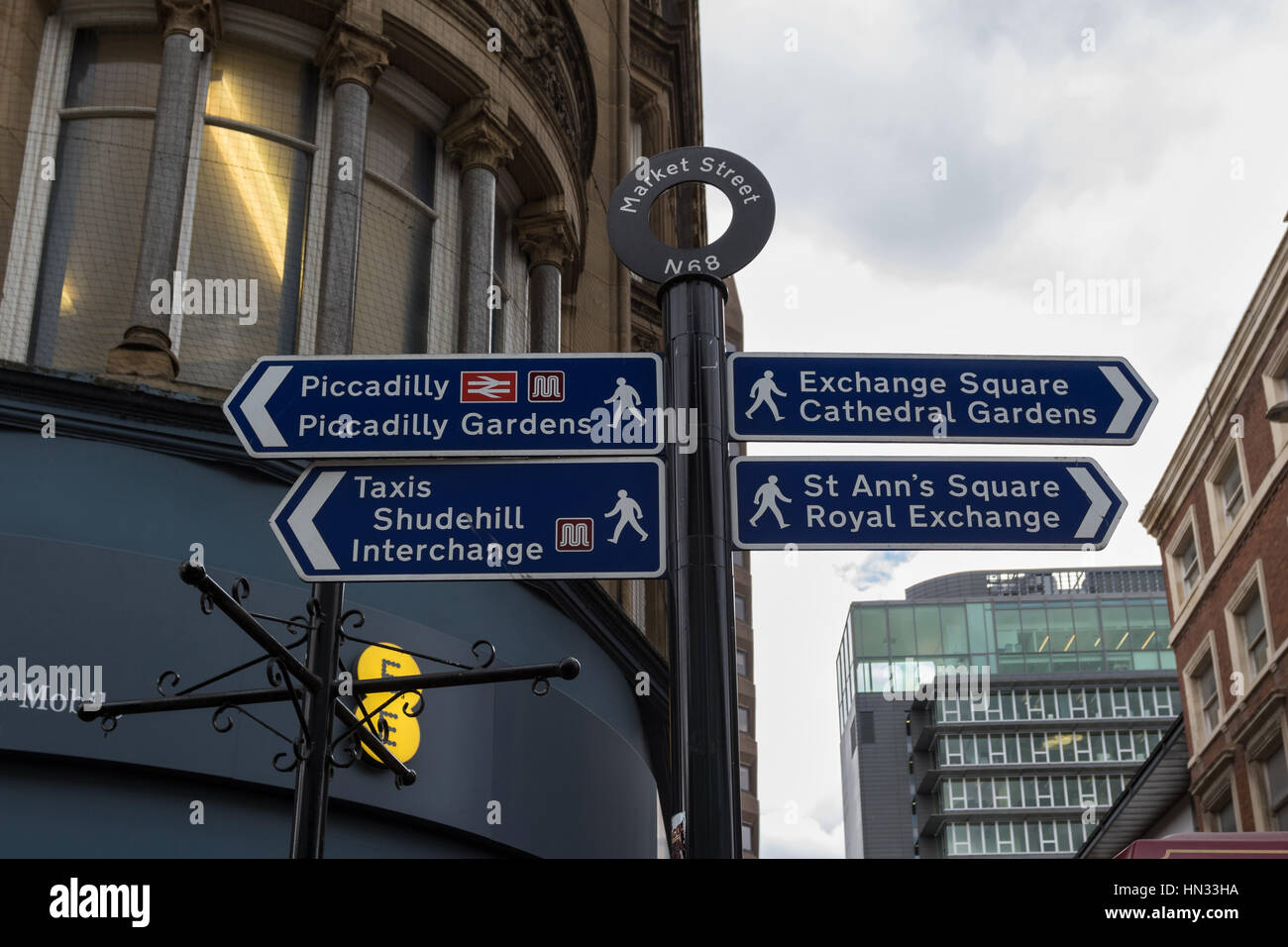 Pedestrian signpost at Market Street showing directions to the points of interest in Manchester, UK - Stock Image