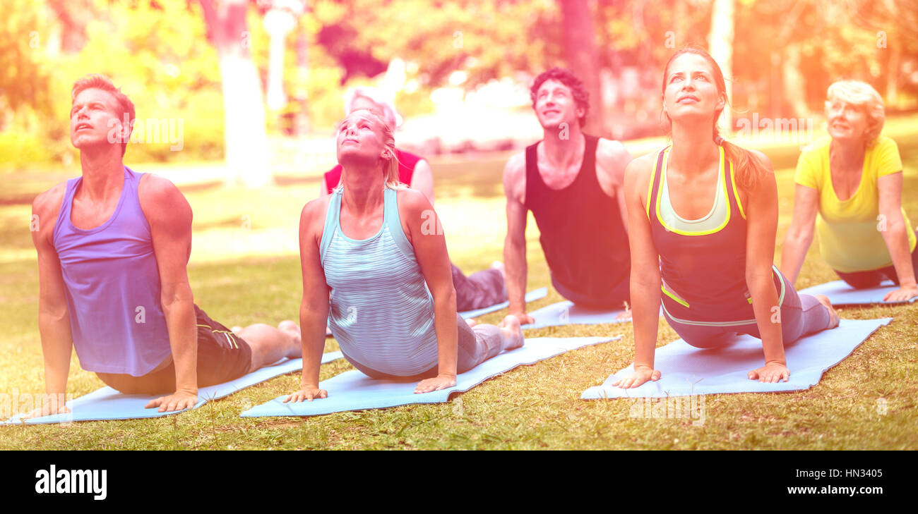 Fitness class practicing yoga in park - Stock Image