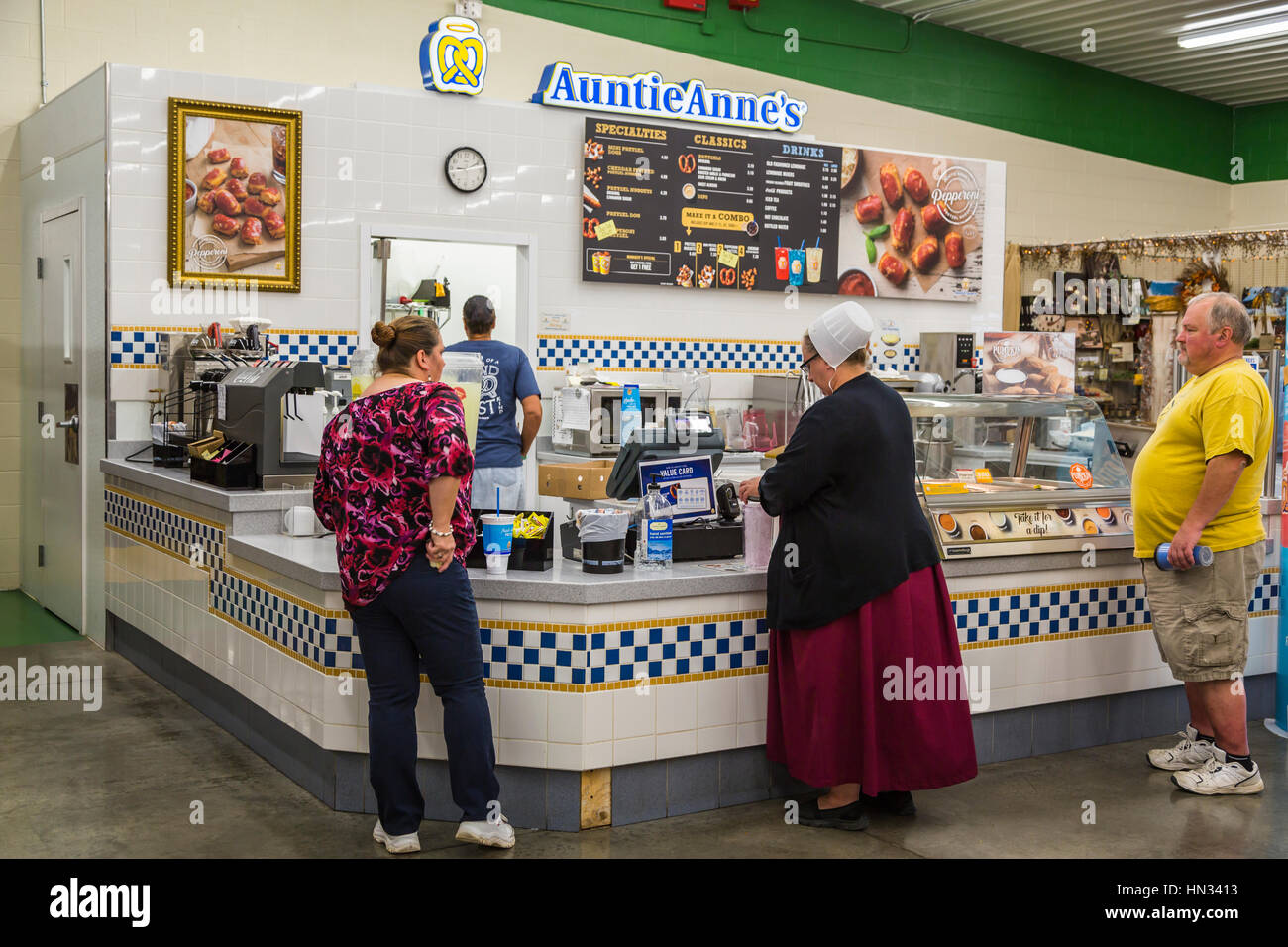 Auntie Anne's fast food counter at a flea market in Berlin, Ohio, USA. - Stock Image