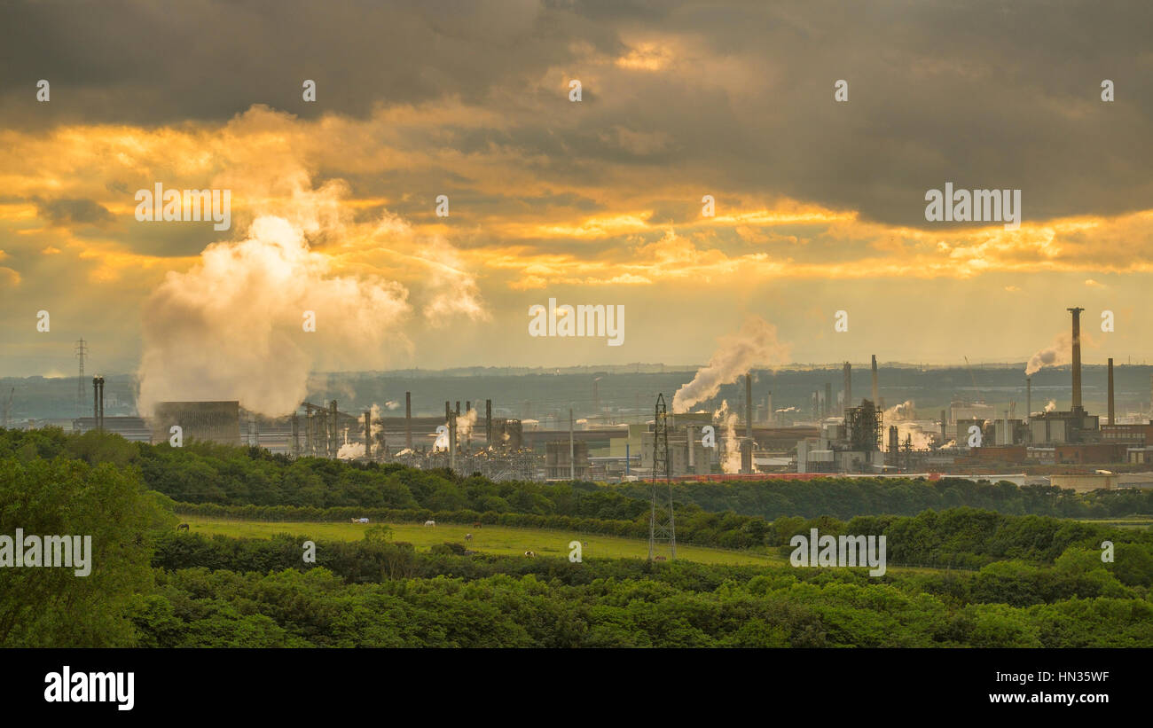 Industrial Redcar seen from inland at sunset. - Stock Image