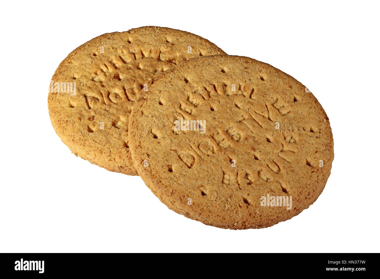 Two plain sweetmeal Digestive biscuits isolated on a white background - Stock Image