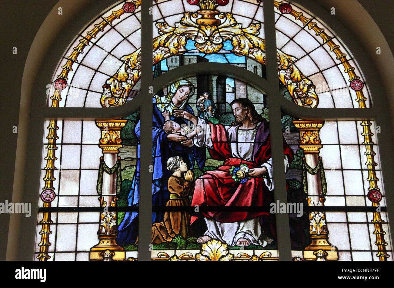 German speaking Evangelical Lutheran Church Window at Swakopmund in Namibia - Stock Image