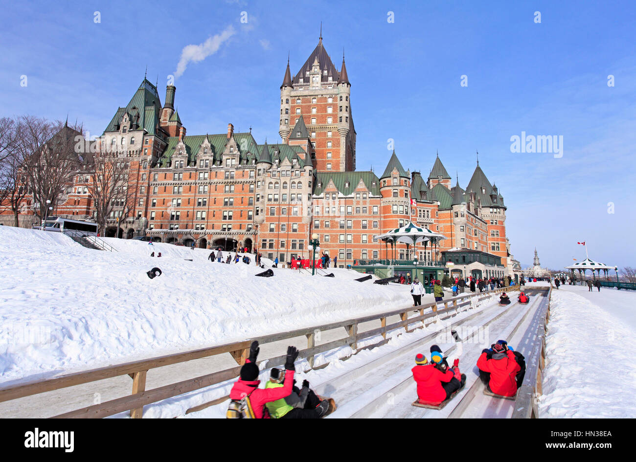 File name:Quebec City in winter, traditional slide descent, Canada - Stock Image