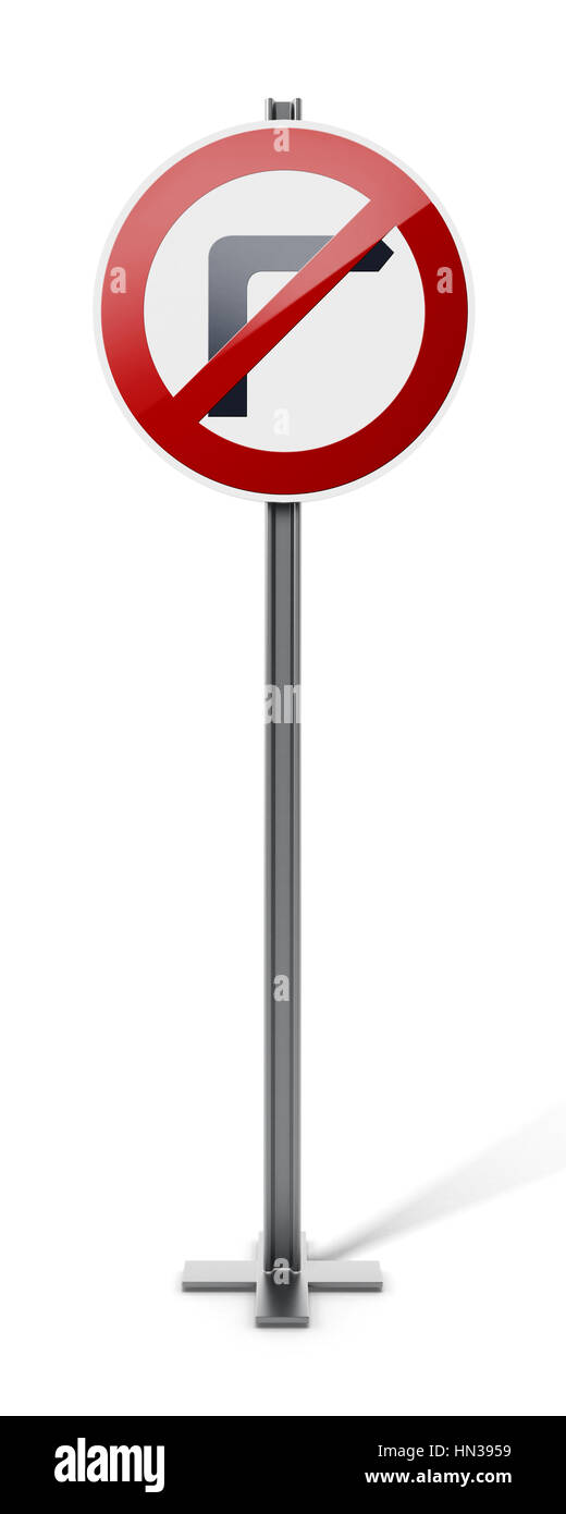 No right turn traffic sign isolated on white background. 3D illustration. - Stock Image