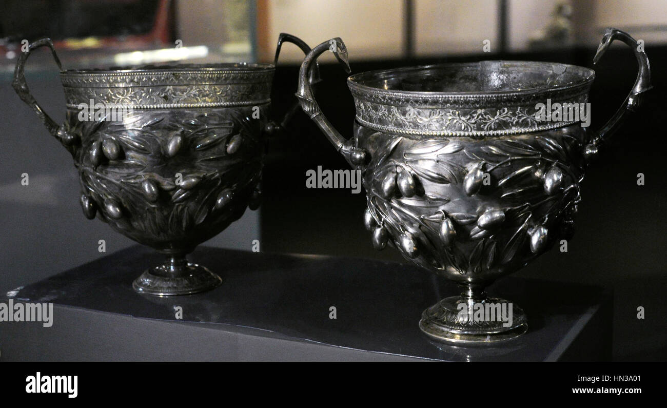 Goblets with olive branches, handles with rosettes and lotus flowers. Under the base of both the words Aurel(ius) - Stock Image