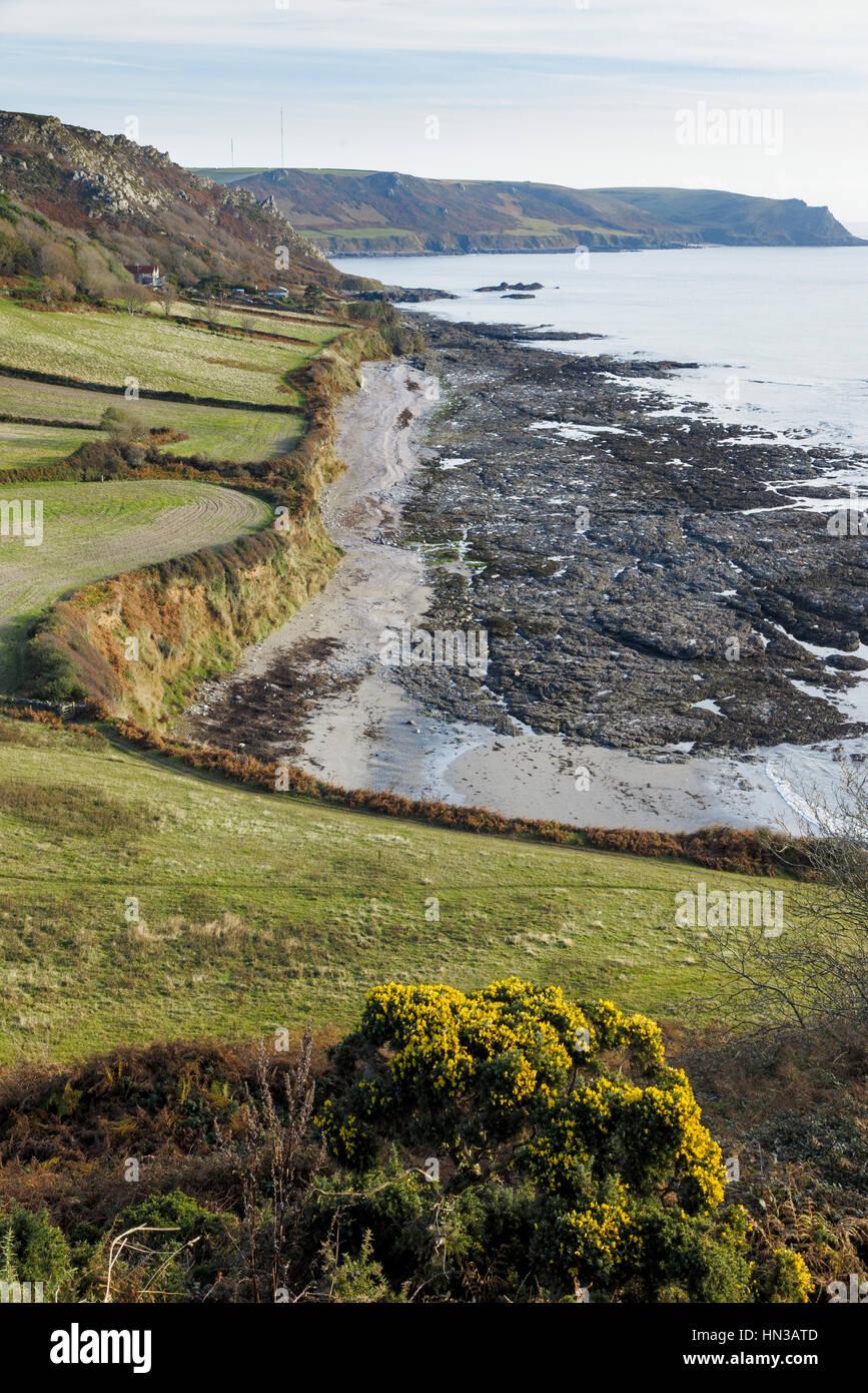 Horseley Beach, Near East Prawle, Devon.  Stretch of coastline on the South West Coast Path. - Stock Image
