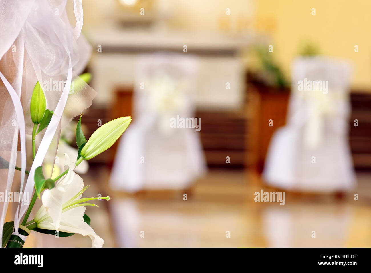 Church decoration before wedding ceremony with space for text - Stock Image