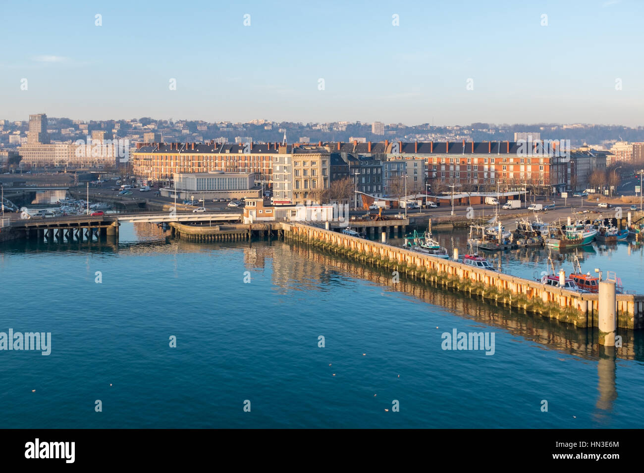 The port of Le Havre viewed from the deck of a departing Brittany Ferries car ferry - Stock Image