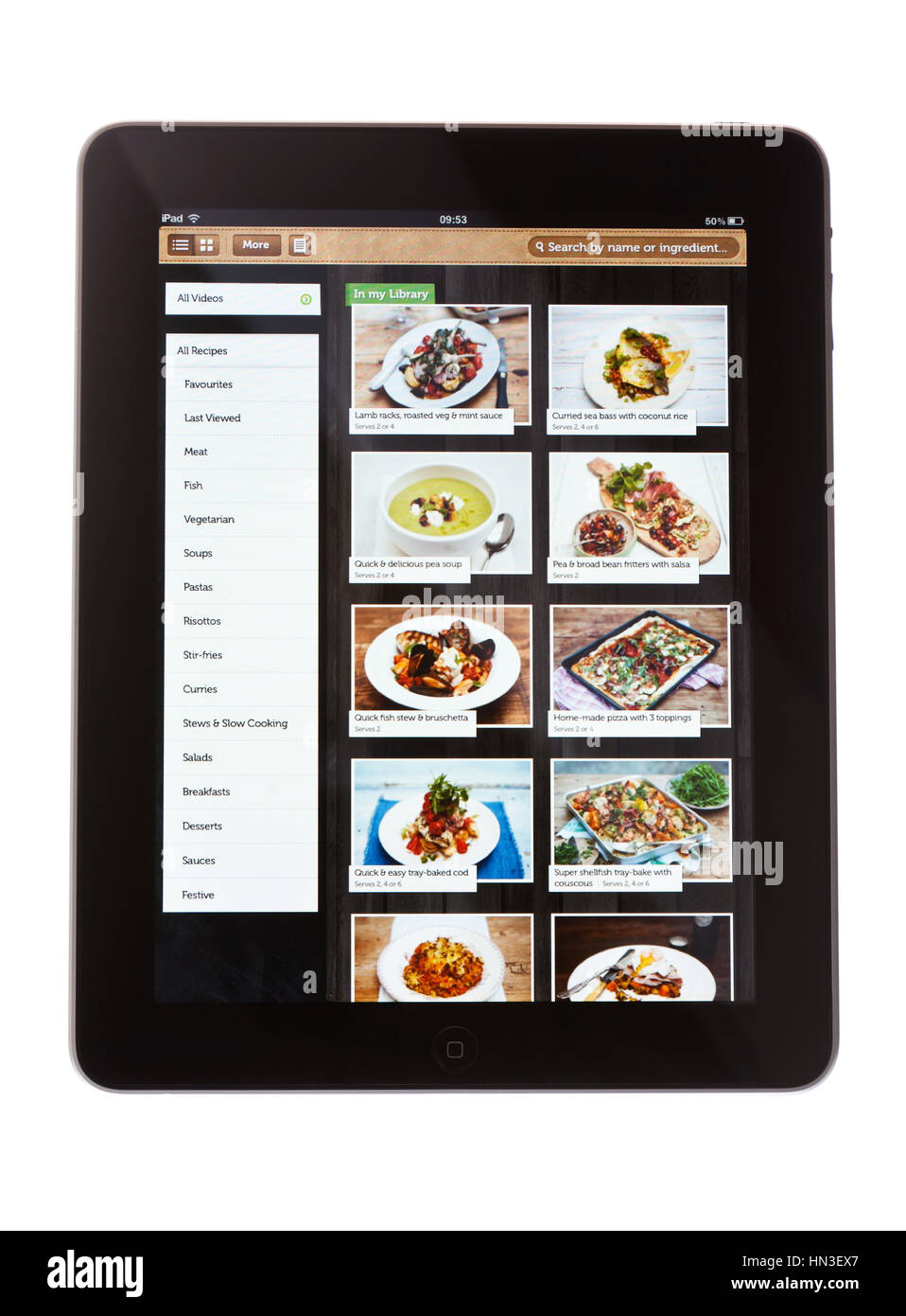 BATH, UK - NOVEMBER 9, 2011: An Apple iPad, against a white background, displaying the Jamie Oliver recipe app. - Stock Image