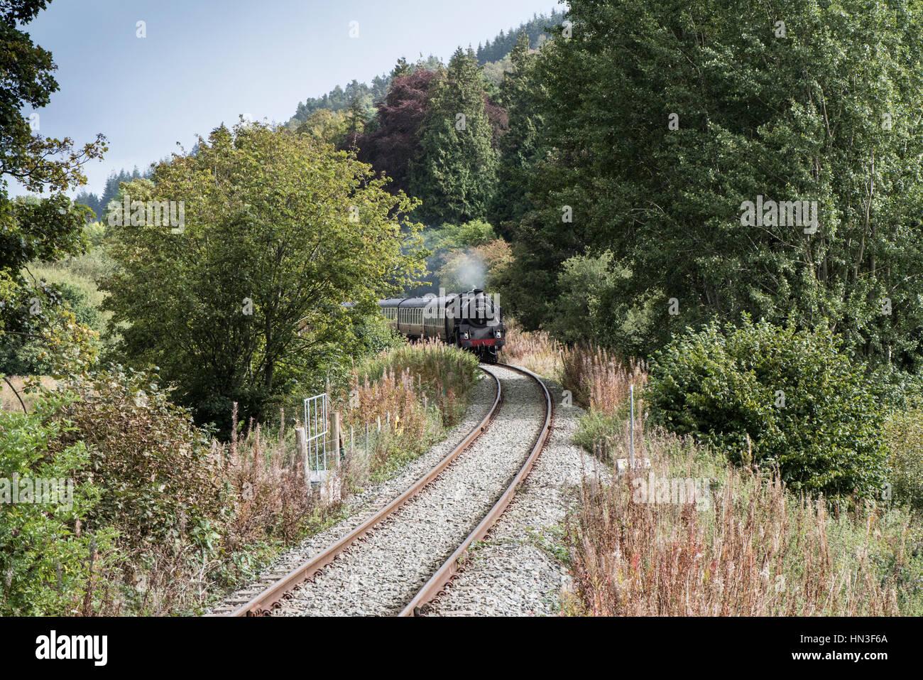 Steam train approaching Corwen Station, Llangollen Heritage Railway Stock Photo