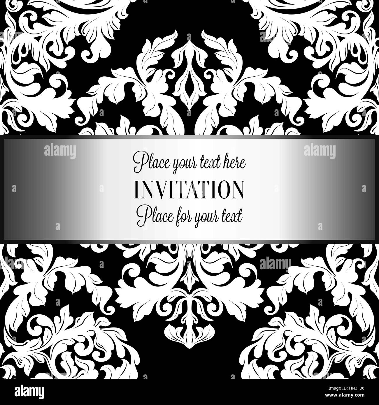 Baroque background with antique, luxury black and white vintage ...