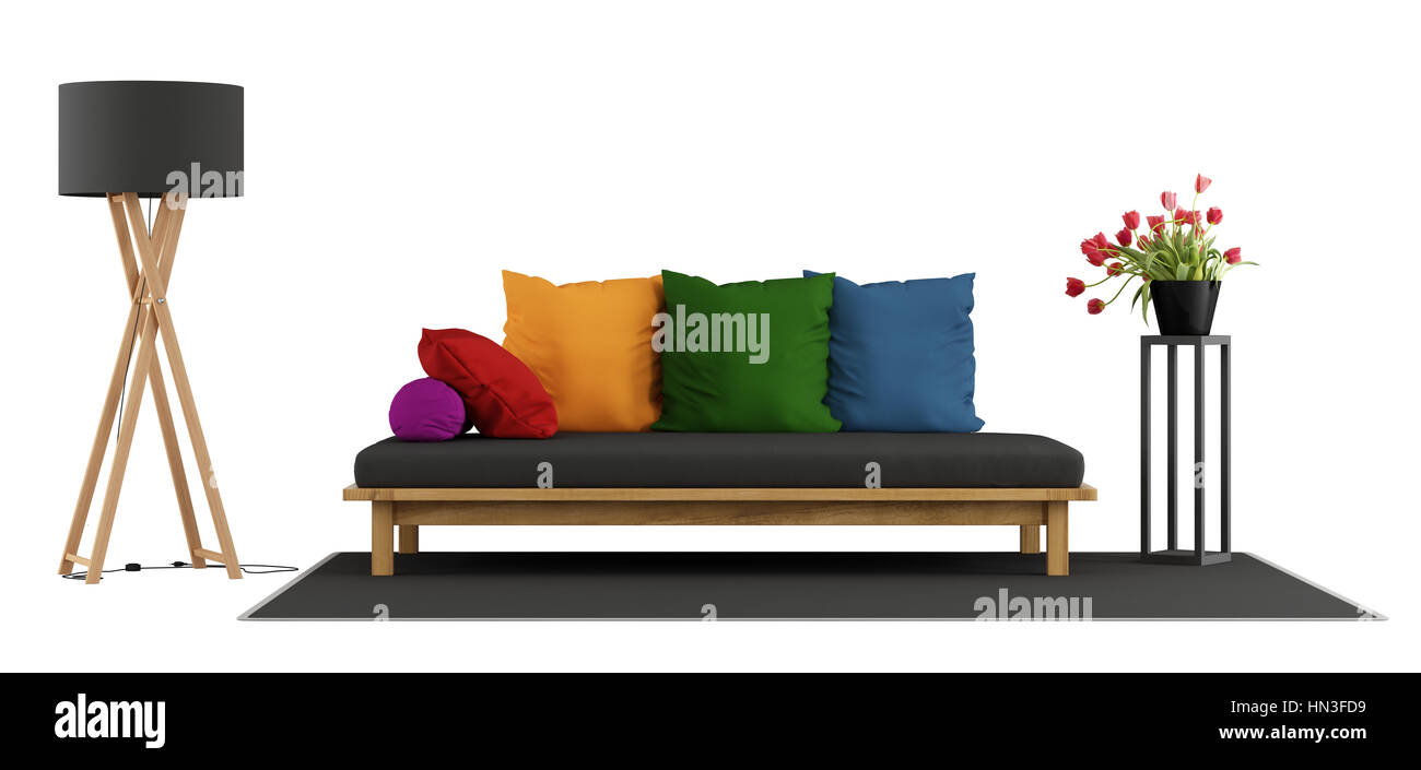 Wooden sofa with colorful cushion,floor lamp and flower isolated on white - 3d rendering - Stock Image