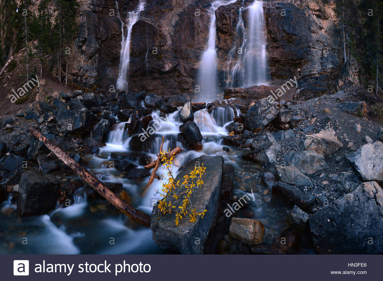 View of Tangle Falls in Alberta, Canada. - Stock Image