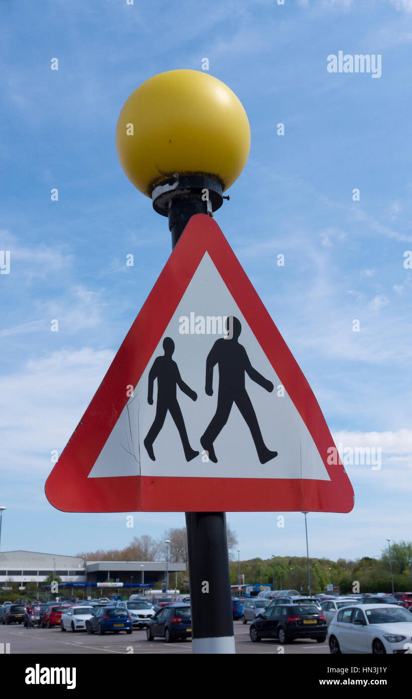 Pedestrian Crossing Sign - Stock Image