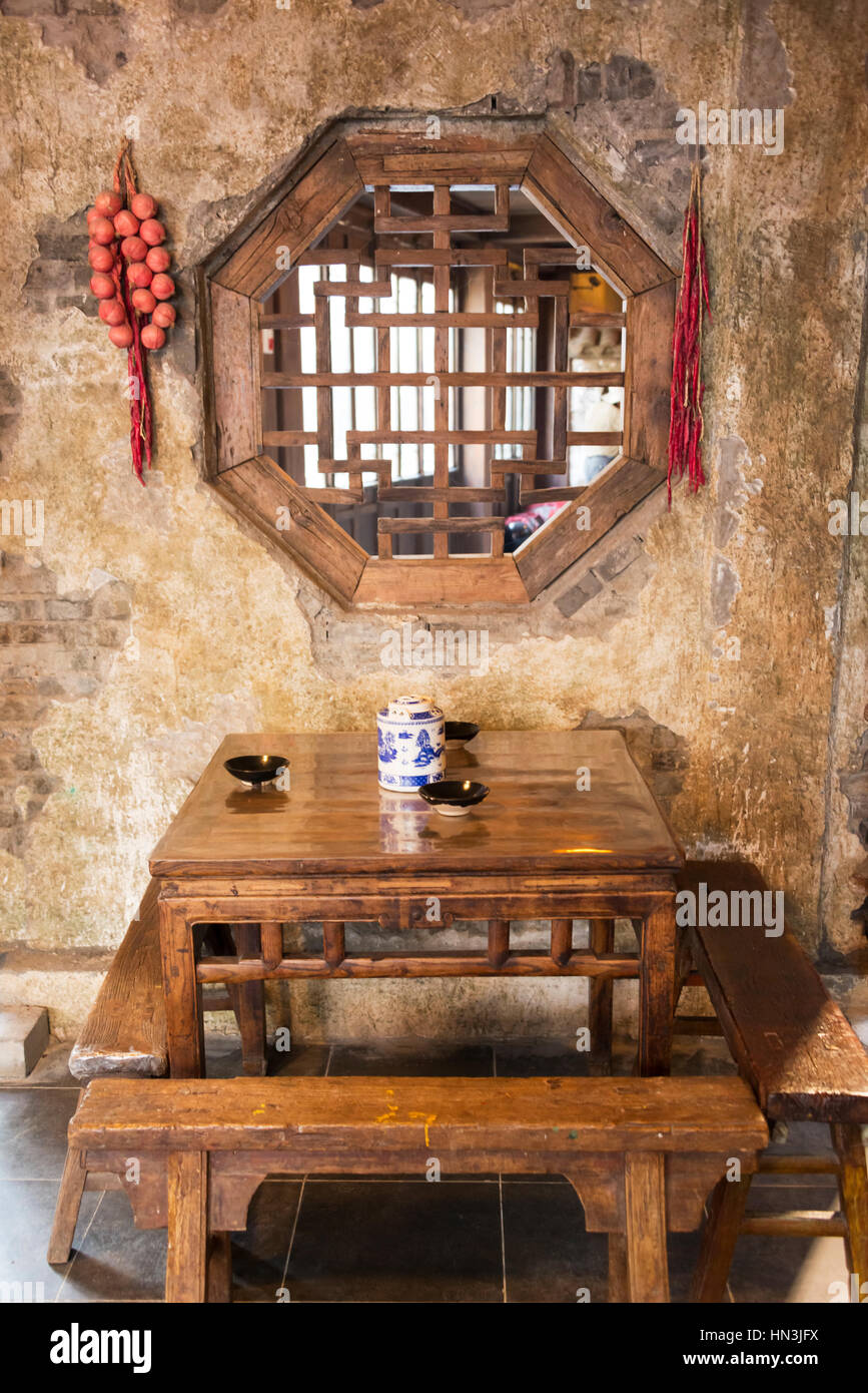 Interior of a renovated old days wine house, Taierzhuang Ancient Town, Shandong Province, China - Stock Image