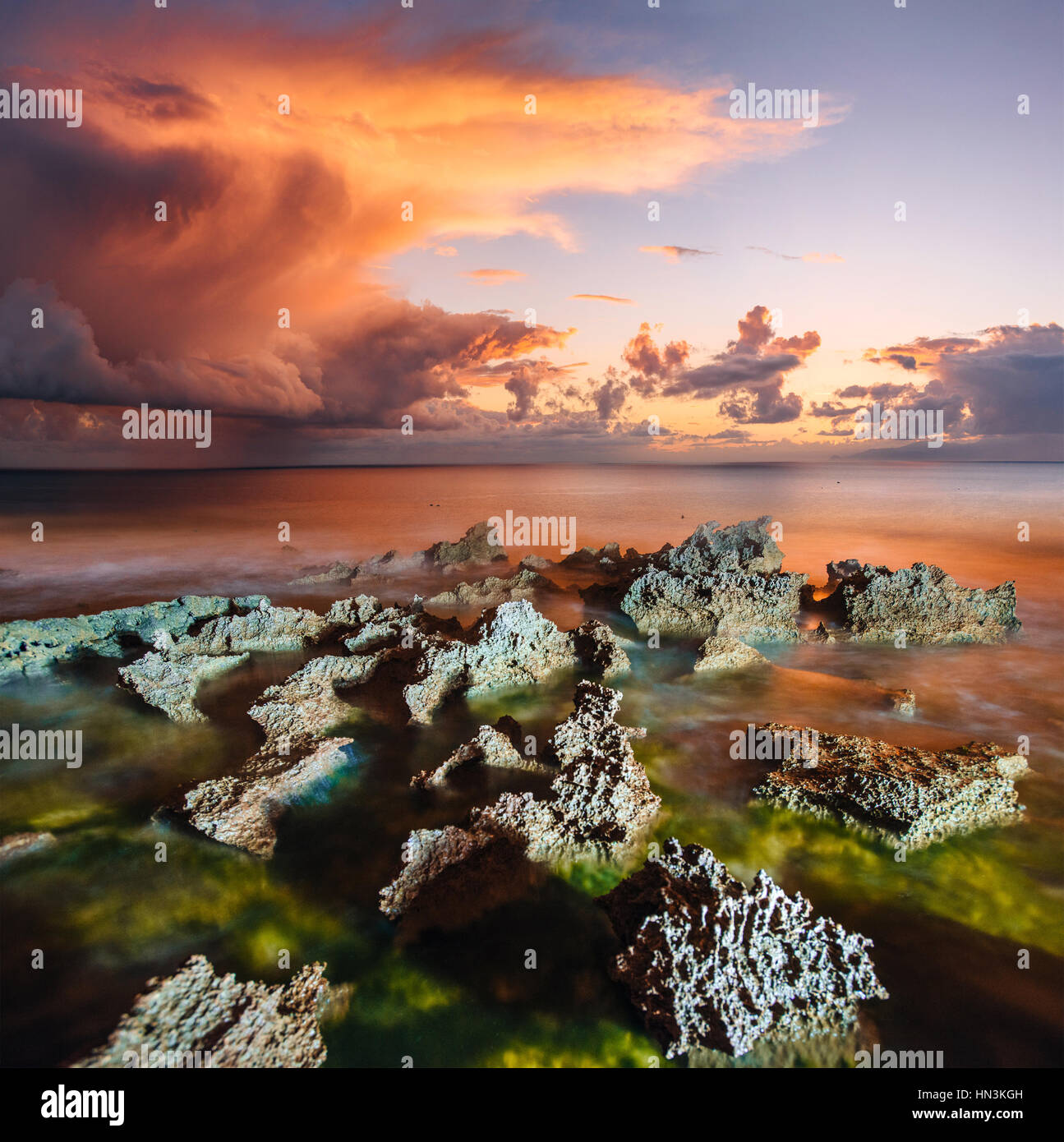 sunset at coast of the sea - Stock Image