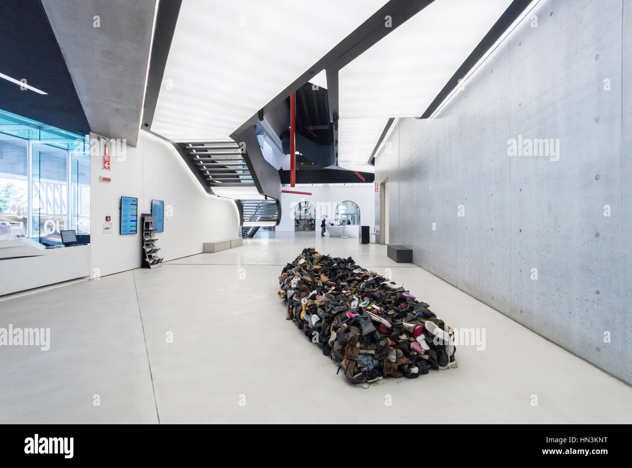 The sculpture Barka by Albanian artist Sislej Xhafa on view in the lobby of the MAXXI art museum in Rome designed - Stock Image