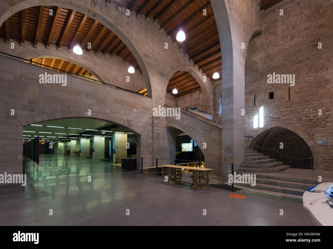 Museu Maritim -Maritime Museum Barcelona in the Drassanes Reials Rambla museum, view of the lobby - Stock Image