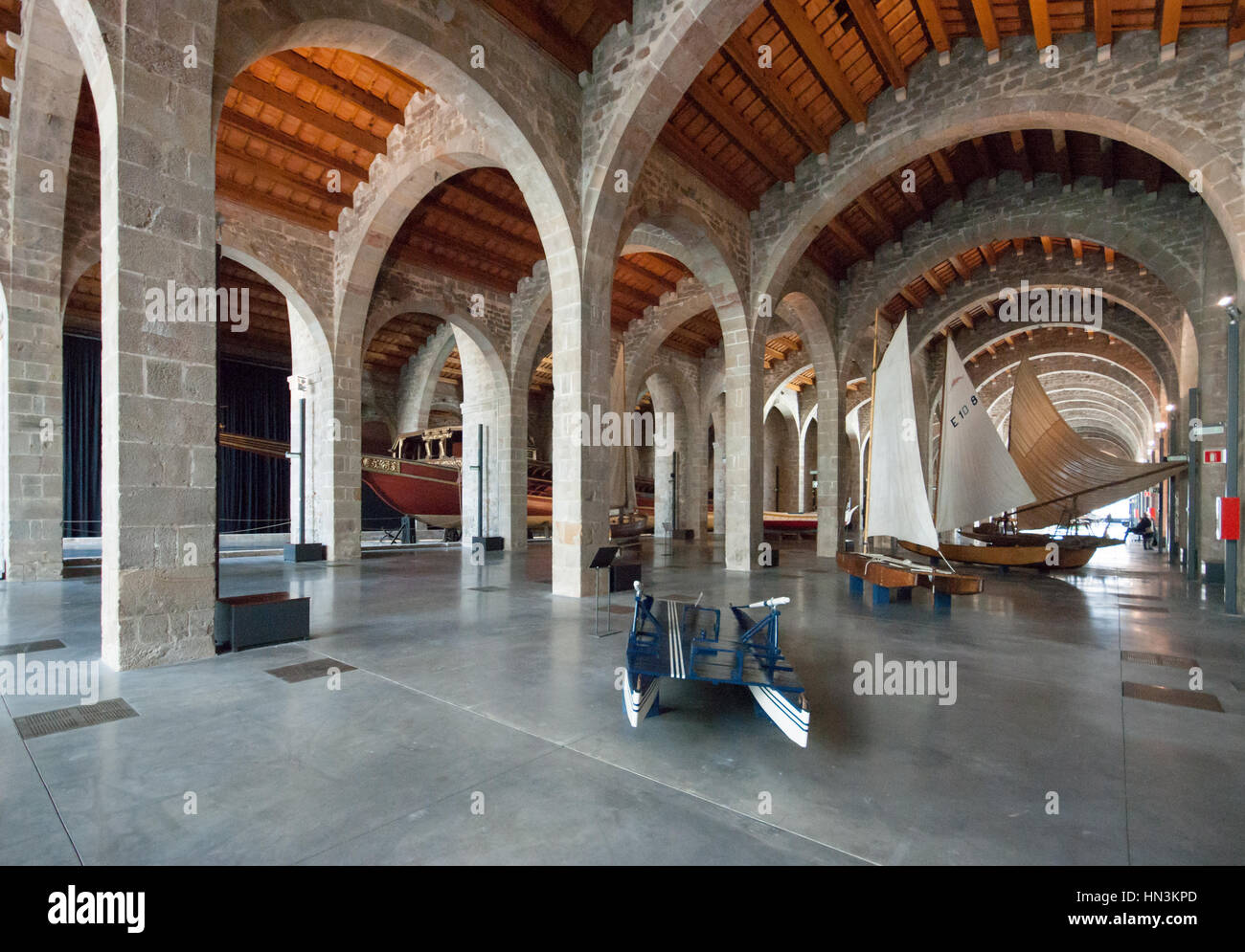 View of the Museu Maritim - Maritime Museum of Barcelona housed in the Frassanes Reials the Medieval Royal shipyards - Stock Image