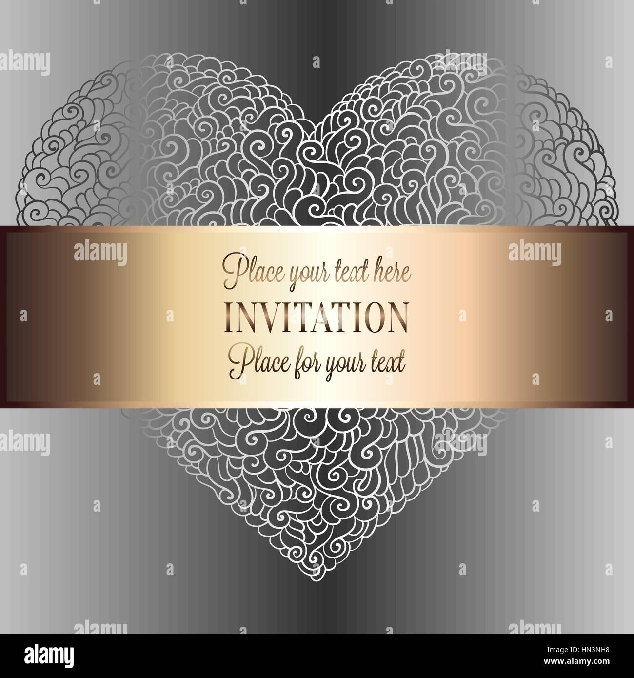 Romantic Background With Antique Luxury Black Metal Gold And