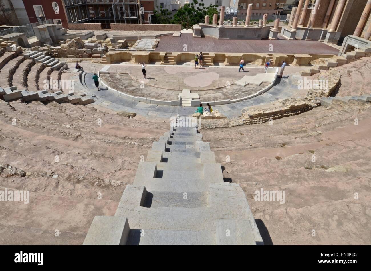Roman theatre of Carthage in Cartagena, Spain. Stock Photo