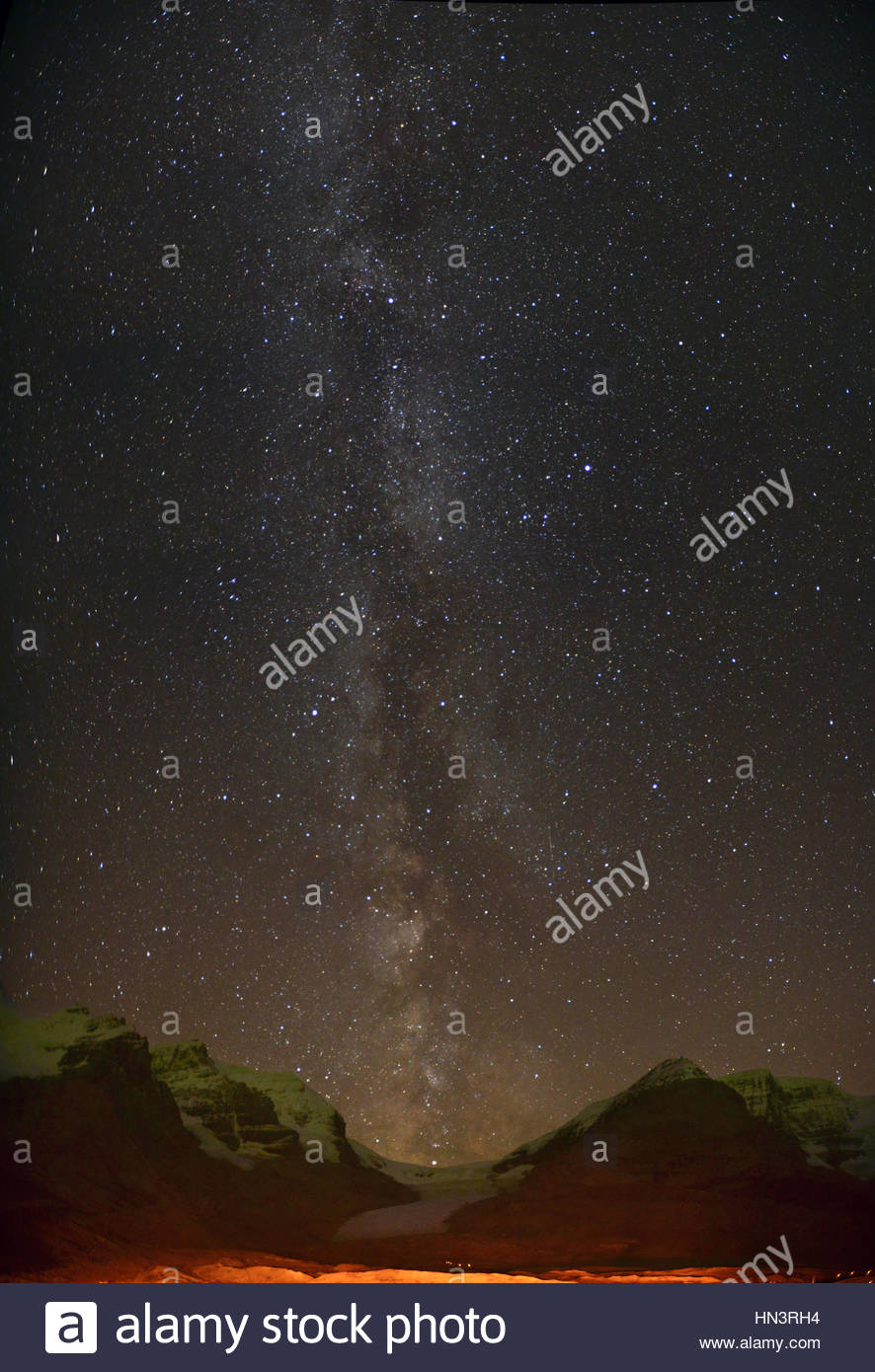 Milky Way over Athabasca Glacier In Columbia Icefield. - Stock Image