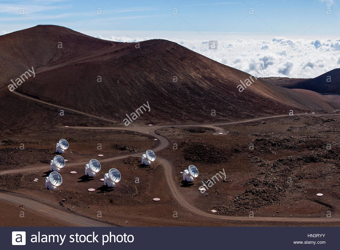 The Submillimeter Array, SMA, consists of several 6-meter dishes at Mauna Kea observatory. - Stock Image
