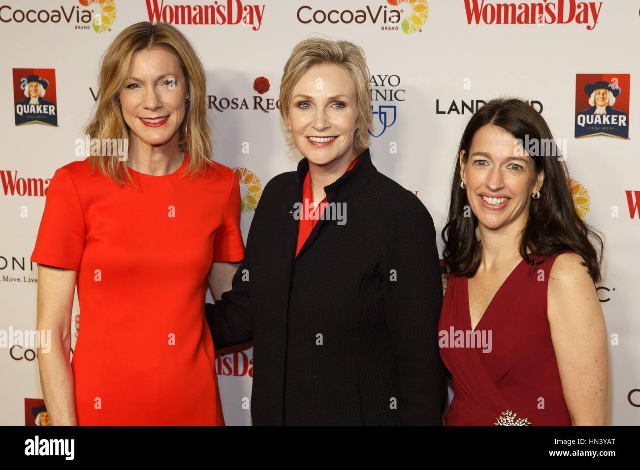 New York, NY, USA. 7th Feb, 2017. Susan Spencer, Jane Lynch, Kassie Means at arrivals for Woman's Day Celebrates - Stock Image
