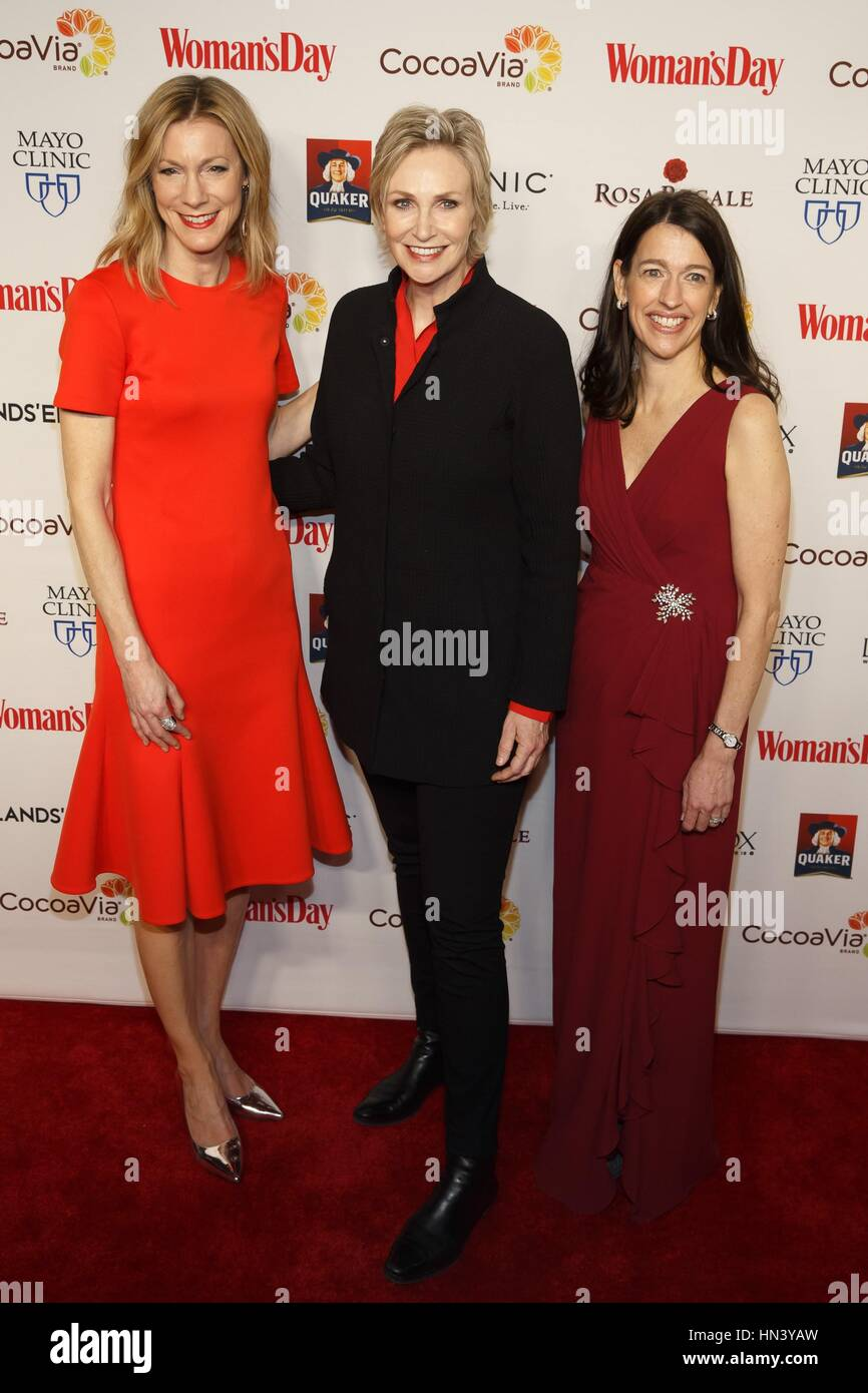 New York, NY, USA. 7th Feb, 2017. Susan Spencer, Jane Lynch, Kassie Means at arrivals for Woman's Day Celebrates Stock Photo