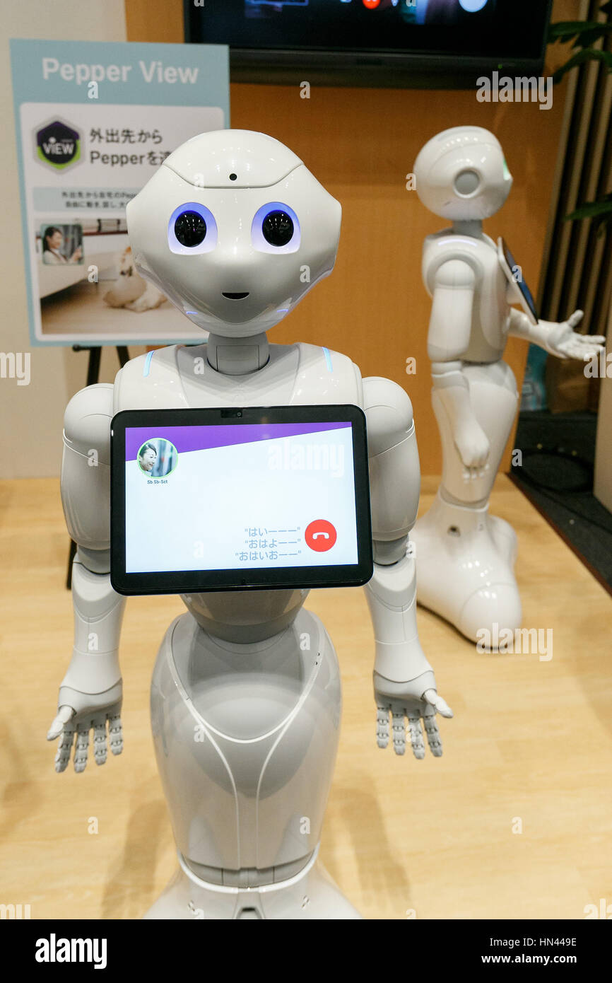 Tokyo Japan 8th Feb 2017 Pepper Humanoid Robots Programmed With