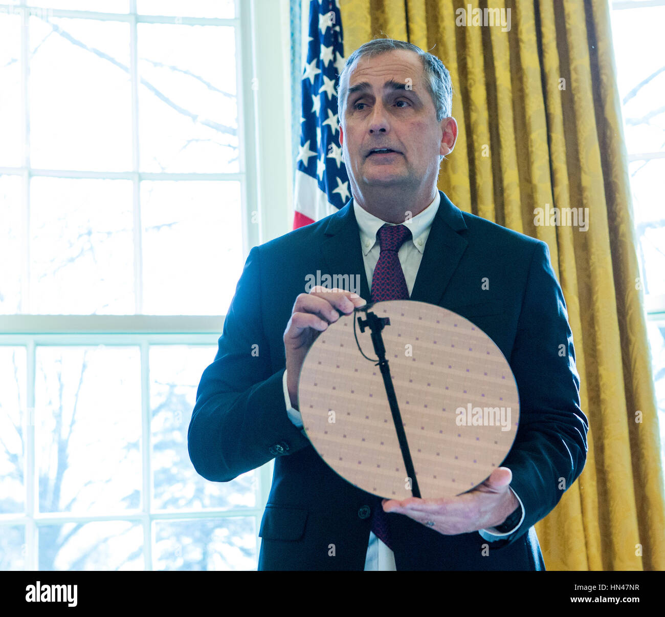 Washington DC, USA. 8th February, 2017. Intel CEO Brian Krzanich speaks during a meeting with United States President - Stock Image