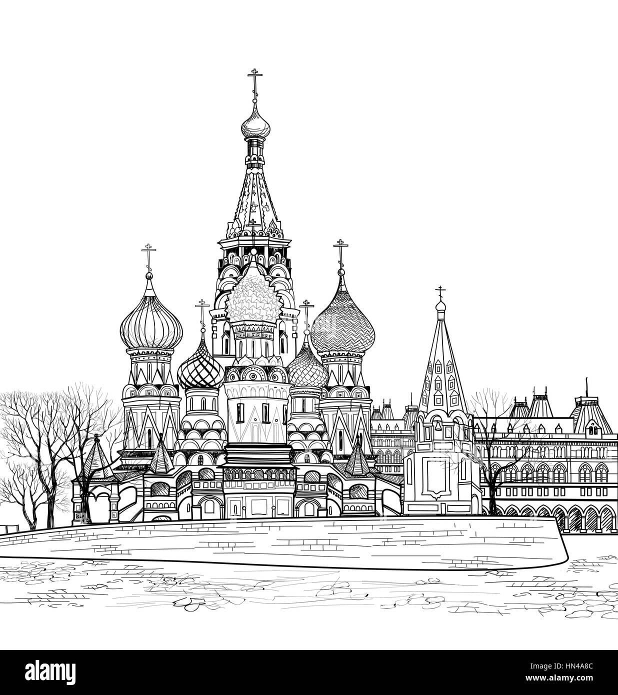 St Basil cathedral, Moscow, Russia.  Travel Russia vector illustration. Russian famous place citsycape.  Red square - Stock Image