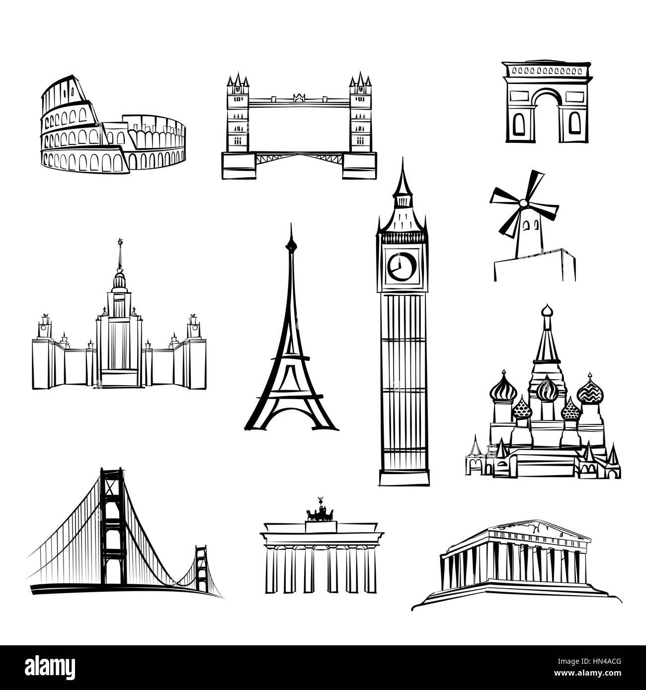 world tourist attractions symbols World famous city landmarks Travel icon set Doodle engraved sightseeings of London, - Stock Vector