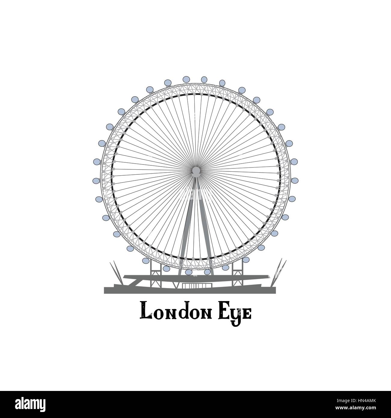 Travel London city famous place. English  landmark London Eye sightseeing The Great Britain background design element. - Stock Image
