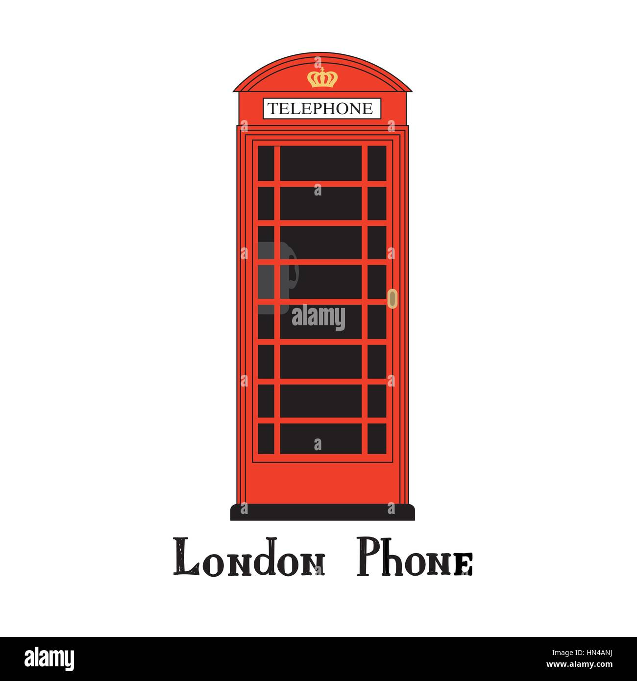 London city phone Famous London red telephone box. English landmark  The Great Britain sightseeing design element. - Stock Image