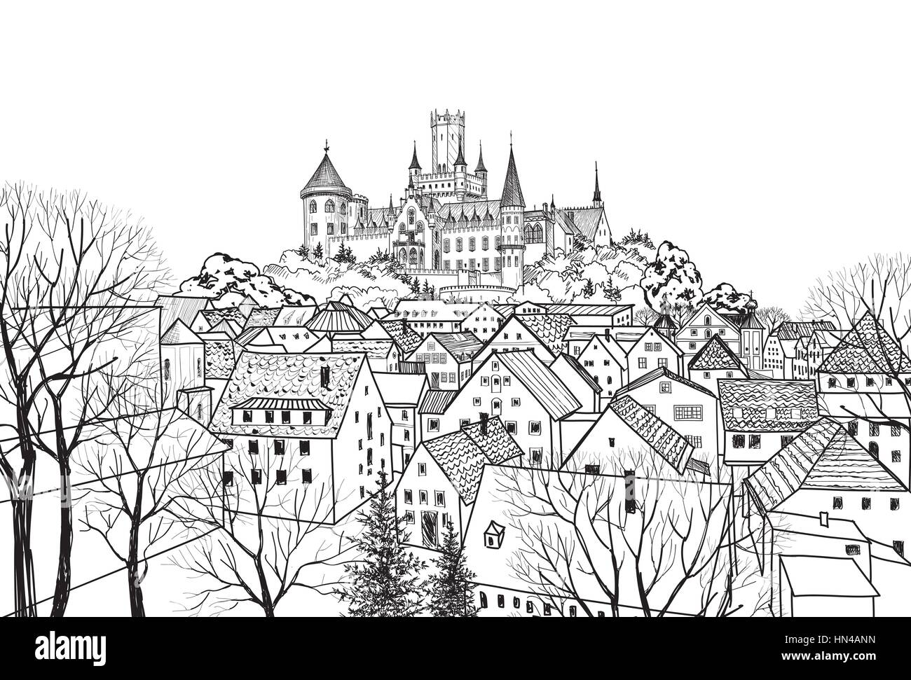 Old city view with castle on background medieval european castle landscape pencil drawn vector
