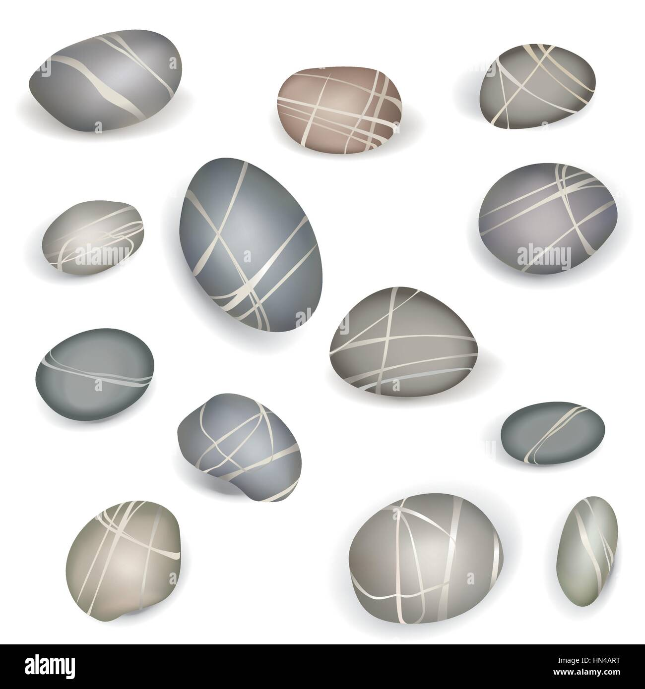Set of pebbles and natural stones of different shapes and colors. With examples of use - Stock Vector